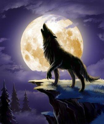 Wolf heult auf dem Mond