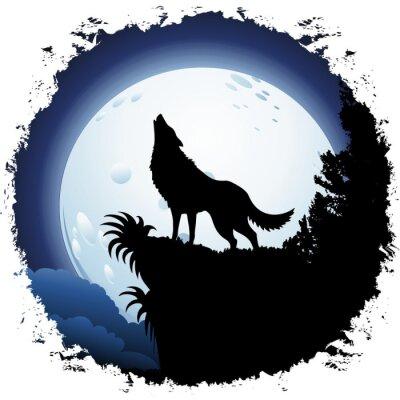 Fototapete Wolf heult den Blue Moon auf Grunge Frame