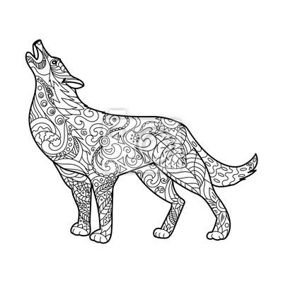Wolf Malbuch für Erwachsene Vektor