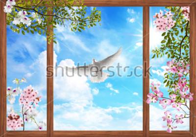 Fototapete Wolken des Himmels 3d und schöner Baum, Blumenrahmen