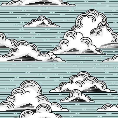 Fototapete Wolken nahtlose Muster von Hand gezeichnete Illustration. Vector Hintergrund