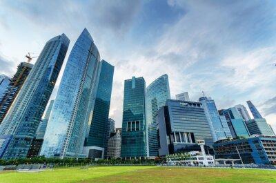 Fototapete Wolkenkratzer im Finanzviertel von Singapur