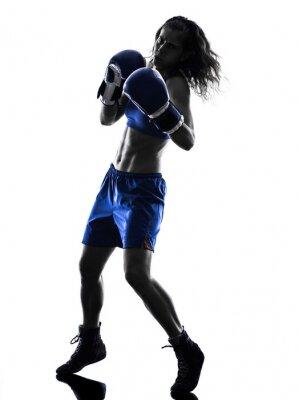 Fototapete woman boxer Kickboxen Silhouette isoliert