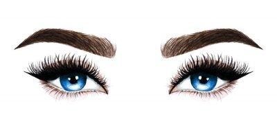 Fototapete Woman eyes with long eyelashes. Hand drawn watercolor illustration. Eyelashes and eyebrows. Design for eyelash extensions, microblading, mascara, beauty salon, cosmetics, makeup artist. Blue eyes.