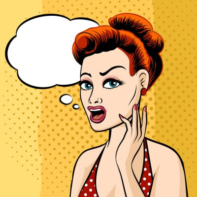 Fototapete Woman Face with Speech Bubble