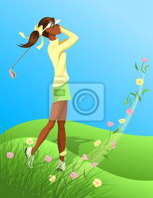 Woman Golfer Swinging Aus Flowered Grass