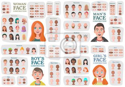 Fototapete Woman, Man, Girl, Boy Character Constructors