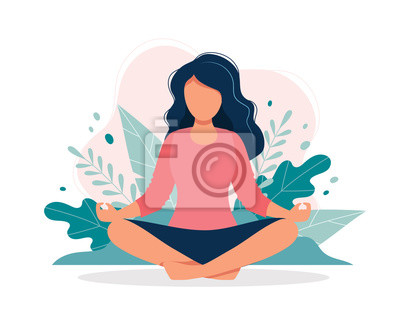 Fototapete Woman meditating in nature and leaves. Concept illustration for yoga, meditation, relax, recreation, healthy lifestyle. Vector illustration in flat cartoon style