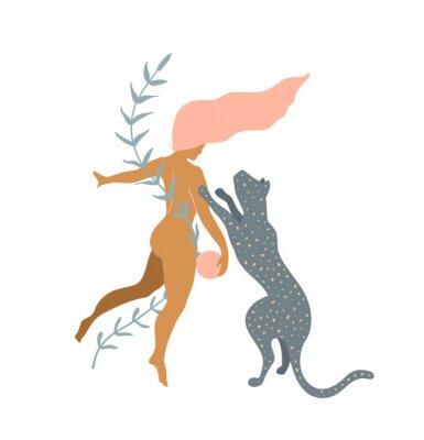 Fototapete Woman naked and Wild Cat minimal silhouette modern art print design.