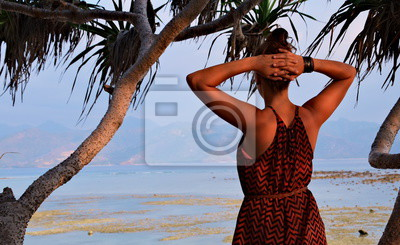 Woman on the beach from behind. A silhouette in front of the ocean / sea / water.