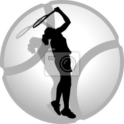 Woman Tennis Server Silhouette