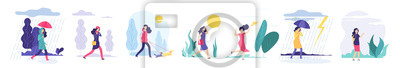 Fototapete Woman various weather. Girl walking outdoors in different clothes snowfall cloudy wind heat rain with umbrella cold season vector set. Illustration of weather wind and sun, girl in jacket walk in rain