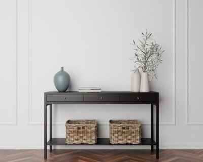 Fototapete Wood Console Cabinet Contemporary Modern Foyer Living Room Blank Empty Wall