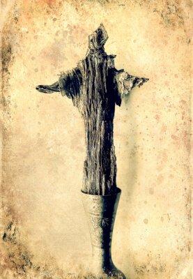 Wood jesus, the Good Shepherd, painting effect, old photo effect.