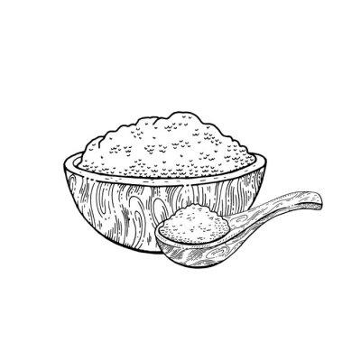Wooden bowl spoon with food - sketch flour, rice, sea salt, spirulina, spice, potato, oat, sugar, porridge. Doodle hand drawn vector illustration, vintage breakfast drawing, isolated white background