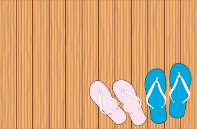 Wooden Grooved Decking Background With Flip Flop Shoes