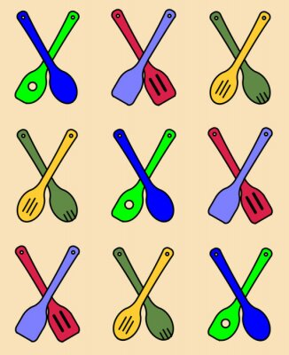 Wooden Kitchen Tools Repeating Pattern