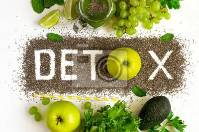 Fototapete Word Detox ist aus Chia Samen gemacht. Grüne Smoothies und Zutaten