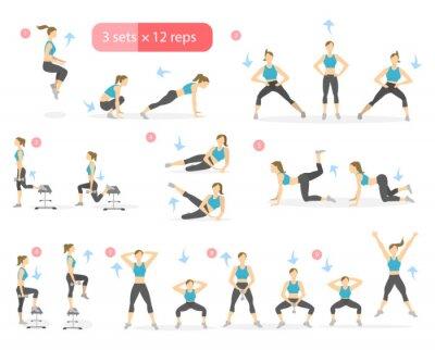 Workout mädchen gesetzt. frau macht fitness-und yoga-übungen ...