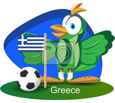 World cup mascot 2014 with Greece team flag