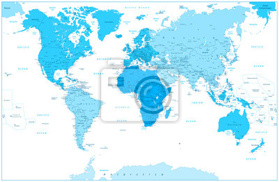 Fototapete: World map and continents in colors of blue isolated on white