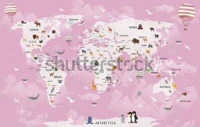 Fototapete World map animals for child room wallpaper
