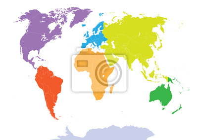World map colored by continents fototapete • fototapeten ec, a ...