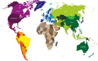 World map colored by continents fototapete • fototapeten a ...