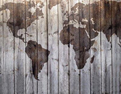 Fototapete World map drawn on canvas wood effect