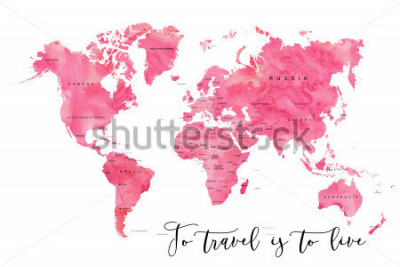 Fototapete World map filled with pink watercolour effect and country names, with plenty of space to insert your own quote under the image.