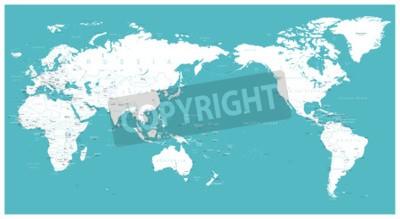 Fototapete World map flat Asia in center vector.