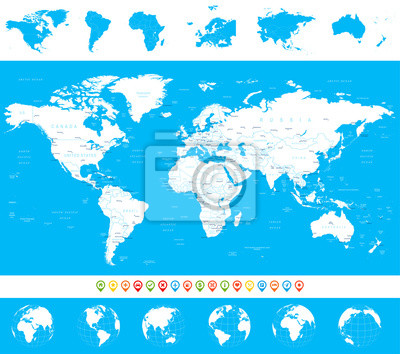 Fototapete: World map, globes, continents, navigation icons -  illustration.highly