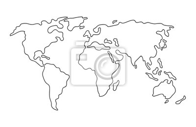 Fototapete World map. Hand drawn simple stylized continents silhouette in minimal line outline thin shape. Isolated vector illustration