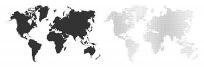 Fototapete World map. Map silhouette. World map in different style. Map earth template with continents, USA, Europe and Asia, Africa and Australia. Vector