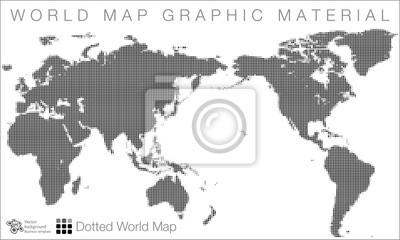 World map #vector illustration, halftone dot pattern fototapete ...