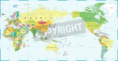 Fototapete World map white blue, Asia in center vector.