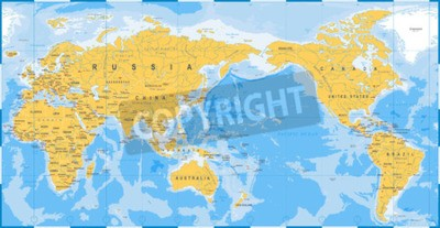 Fototapete World map yellow blue, Asia in Center vector.