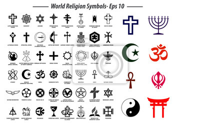 Fototapete world religion symbols signs of major religious groups and other religions isolated. easy to modify