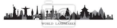 Fototapete World Skyline Landmarks in Black and White Silhouette