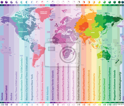 World time zones vector map with countries names and borders ...