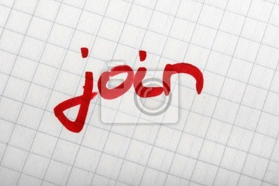 Wort auf dem Papier JOIN mit dicken roten Stift. Hand schriftlich font