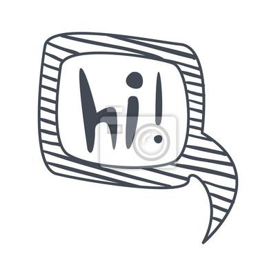 Wort hallo, hand gezeichnet comic sprechblase schablone, isoliert ...