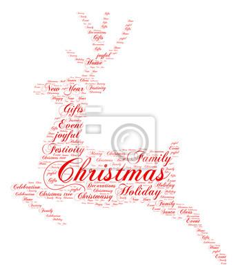 Worte wolke weihnachten konzept, rentier form. fototapete ...