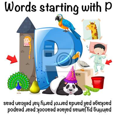 Wörter Die Mit P Auf Weißem Hintergrund Beginnen Fototapete