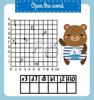 Wörter puzzle kinder pädagogisches spiel mit koordinatenraster ...