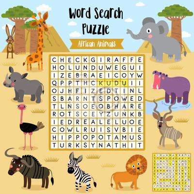 Wörter suchen puzzle-spiel von afrikanischen tieren für vorschule ...