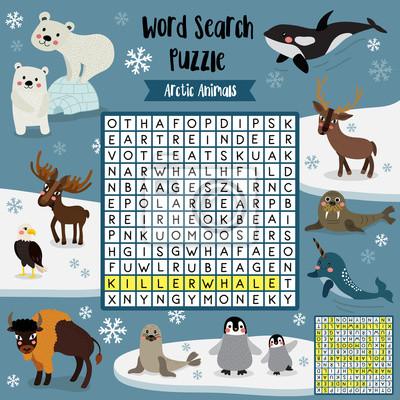 Wörter suchen puzzle-spiel von arktischen tieren für vorschule ...