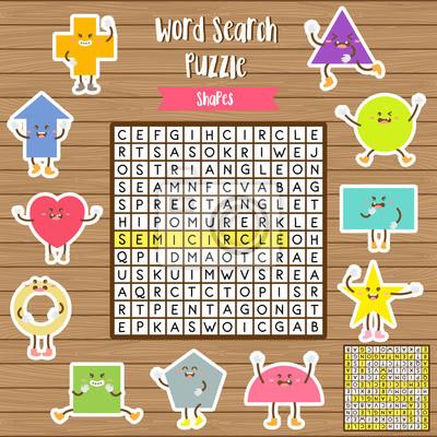 Wörter suchen puzzle spiel von formen für vorschule kinder aktivität ...