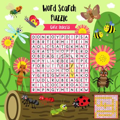 Wörter suchen puzzle-spiel von insekt bug tiere für vorschule ...