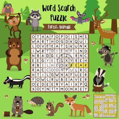 Wörter suchen puzzle-spiel von waldtieren für vorschule kinder ...